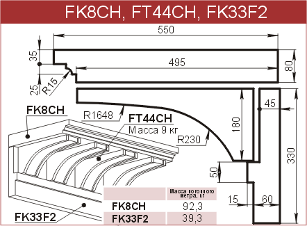 Карнизы: FK8CH - 5080 руб/м.п.